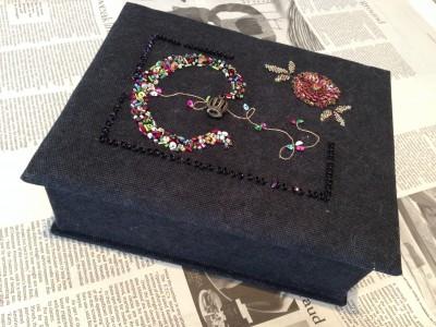 cのイニシャルの刺繍が完成したので、カルトナージュを制作しました。黒い生地に刺した色とりどりのビーズとスパンコールが美しいです。