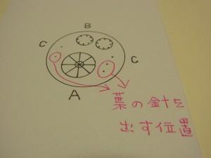 全体の製図です。2種類の円形と点が書いてあります。