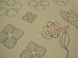 糸刺繍の図案です。大小のお花と葉っぱが並んでいます。