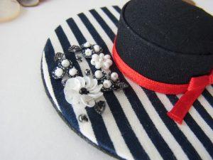 帽子型のピンクッションです。スパンコールのお花が刺してあります。