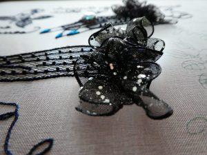 両手にはめた手袋にはキラキラのラメリボンが飾ってあります。