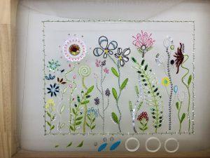オートクチュールビーズ刺繍、アリワークで刺繍しています。色とりどりの様々な花があります。ビーズやスパンコールをたくさん使っているので輝きが美しいです。