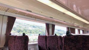 東武線のロマンスカーの車内です。窓から見える緑が美しいです。