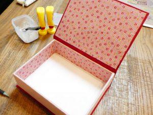 可愛い小花模様の生地が箱の内側に貼ってあります。