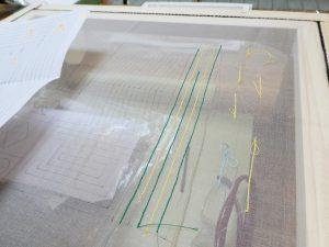 アリワークで基本の糸刺繍の練習をしています。