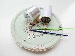 オートクチュールビーズ刺繍、アリワークの針と糸です。