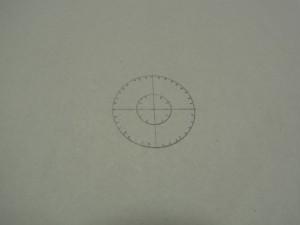 外側の円が36等分、内側が12等分の同心円の製図が完成しました