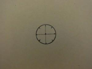 円が8等分に分かれた製図が完成したので、円の外側の不要になった線を消します。