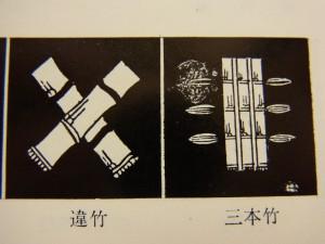 竹紋です。竹が3本並んでいる物と、竹が2本交差している物があります。