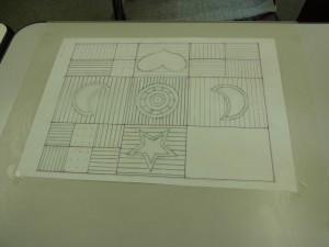 基礎の第2回目(スパンコールを使った刺繍)の図案の転写が完成です