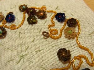 そのまま糸を引き抜くと輪ができます。