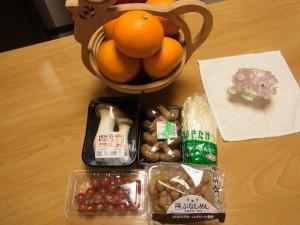清見オレンジ6個と、きのこ類、ミニトマトで¥1,300は安い。