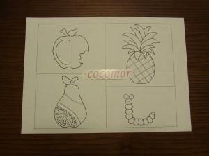 アリワーク課題 No.4 の図案です。りんご、パイナップル、洋梨、虫の図案があります。