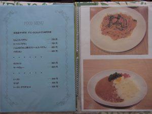 食べ物のメニューでパスタとカレーの写真です。