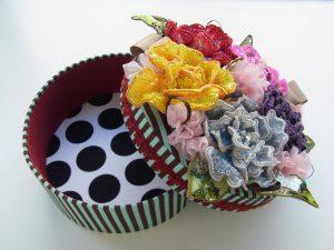 丸箱の蓋にビーズとスパンコールで刺した花がたくさん飾ってあります。