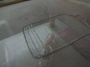 シュガーホットを作ります。横のラインを2本取りで刺しています。