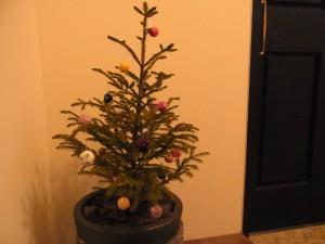 小さいモミの木に、羊毛玉のオーナメントがたくさん飾ってあります。