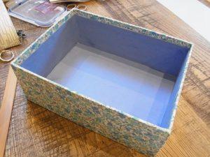 長方形の箱に生地が貼ってあります。