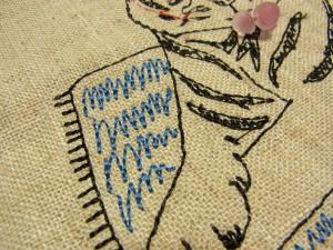 ジグザグのミシン刺繍が模様になっているマットがあります。