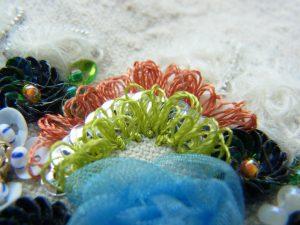 亀甲型スパンコールとリングを描いた刺繍がしてあります。