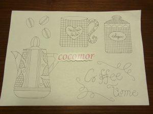 コーヒーポット、カップ、シュガーポットなどが、描かれた図案用紙です。
